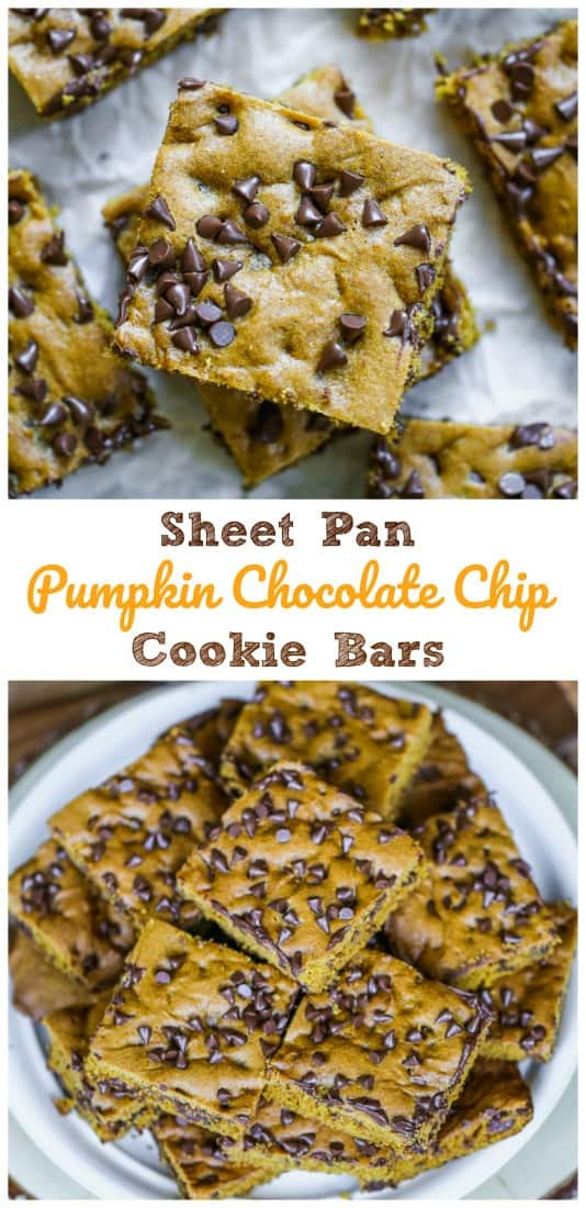Sheet Pan Pumpkin Chocolate Chip Cookie Bars - A hint of cinnamon and pumpkin are utterly irresistible in these soft 'comfort food' cookie bars studded with regular chocolate chips and topped with mini chocolate chips, but not so overloaded they taste like they have too much. #chocolate chip #chocolate #pumpkin #cookies #bars #fall baking