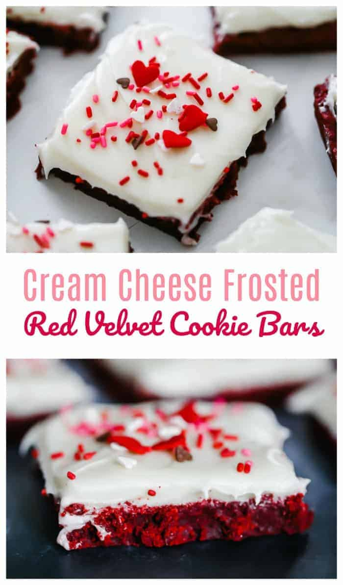 Cream Cheese Frosted Red Velvet Cookie Bars (of Deliciousness) - Does it appear these devilish, ruby red velvet cookie bars are tempting us so, and then, even more with that smooth and creamy cream cheese frosting settling in quite comfortably, like they were made for each other? #redvelvet #red #cookies #bar #valentine