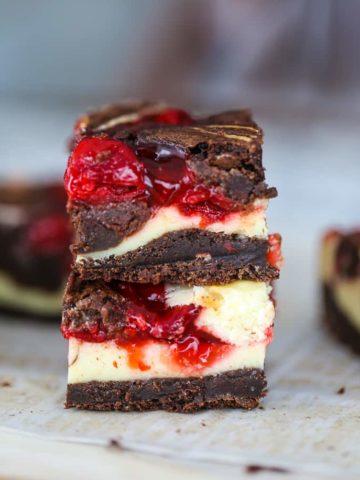 OMG! Heavenly Cherry Cheesecake Swirl Brownies