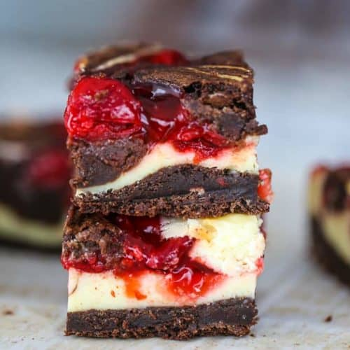 OMG! Heavenly Cherry Cheesecake Swirl Brownies