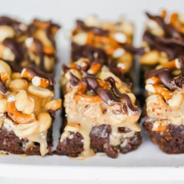 Salted Caramel Pretzel & Peanut Dark Chocolate Brownies