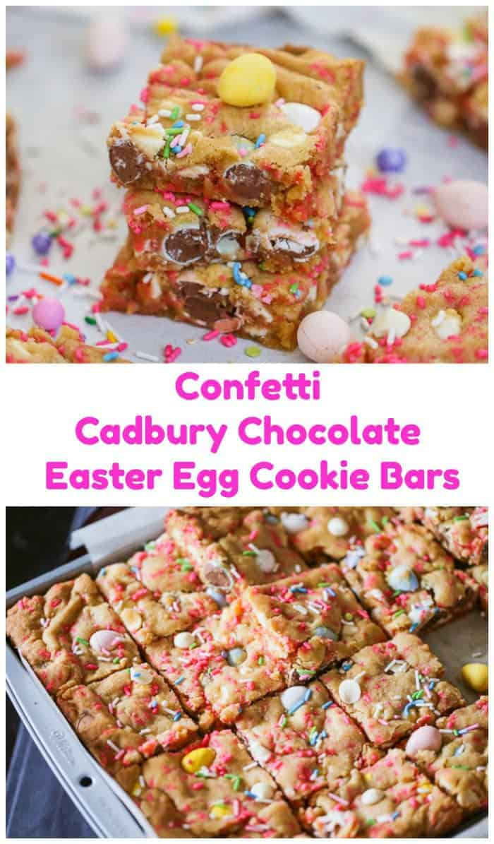 Confetti Cadbury Chocolate Easter Egg Cookie Bars - Put the \'hop\' in everyone's step with these candy Confetti Cadbury Chocolate Easter Egg Cookie Bars! They have a delicious cake batter flavor.  They\'re slightly chewy and thick and they\'re beaming with the colors of spring sprinkles, white chocolate chips and our very own pretty-in-pastel Cadbury Easter Candy Coated Mini Eggs. #eggs #cadbury #chocolate #cookies #bars #easter