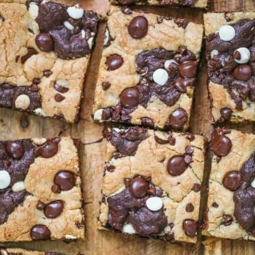 Best of Both World Brookie Bars = Cookie Brownie Bars