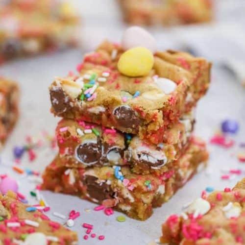 Sheet Pan Confetti Cadbury Chocolate Easter Egg Cookie Bars