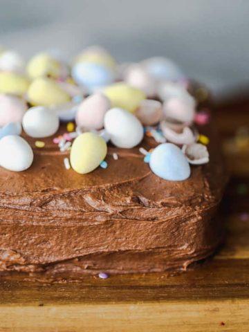 Chocolate Candy Egg Fudge Cake