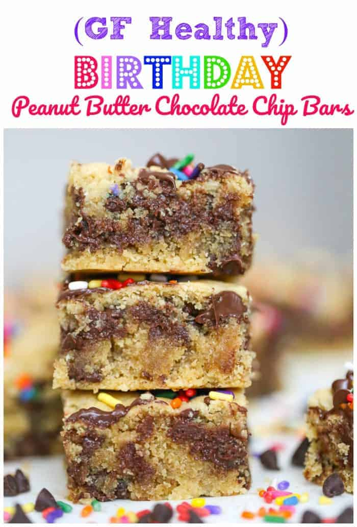 GF Healthy Birthday Peanut Butter Chocolate Chip Bars – Vegan Options