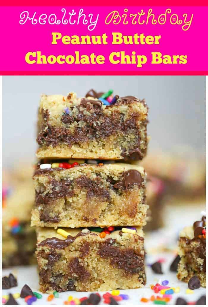 GF Healthy Birthday Peanut Butter Chocolate Chip Bars - Vegan Options