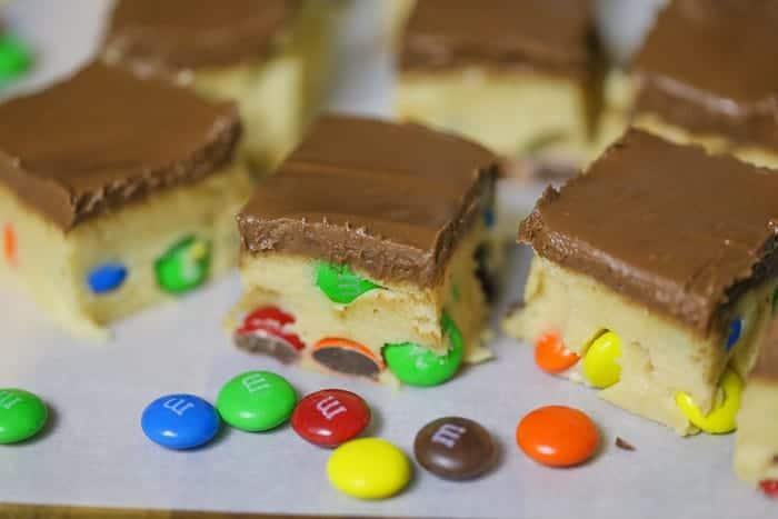 M M Cookie Dough Bars No Bake The Baking Chocolatess