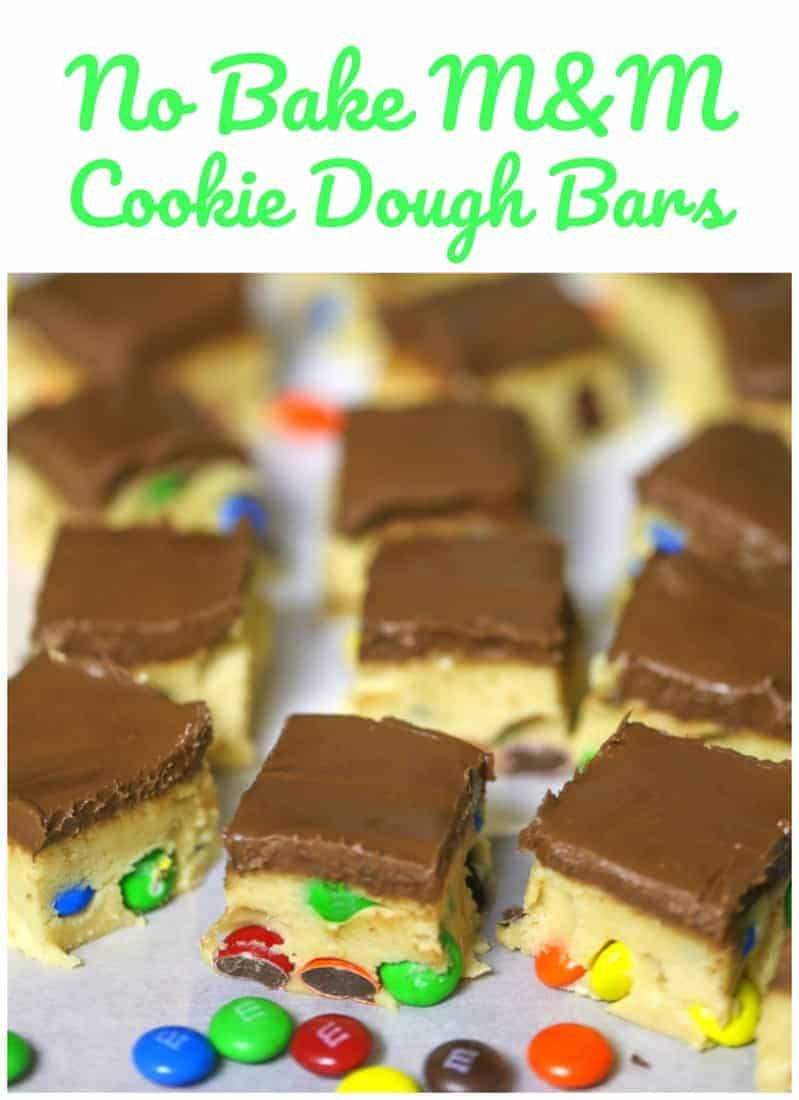 M&M Cookie Dough Bars -  These No Bake M&M Cookie Dough Bars are too yummy to resist!  Safe to eat and soon to be your favorite cookie dough bars!  #cookie dough #m&ms #bars #summer treat #no bake