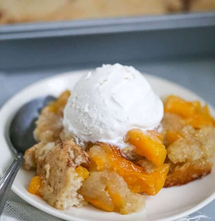 Easy Peach Cake Cobbler