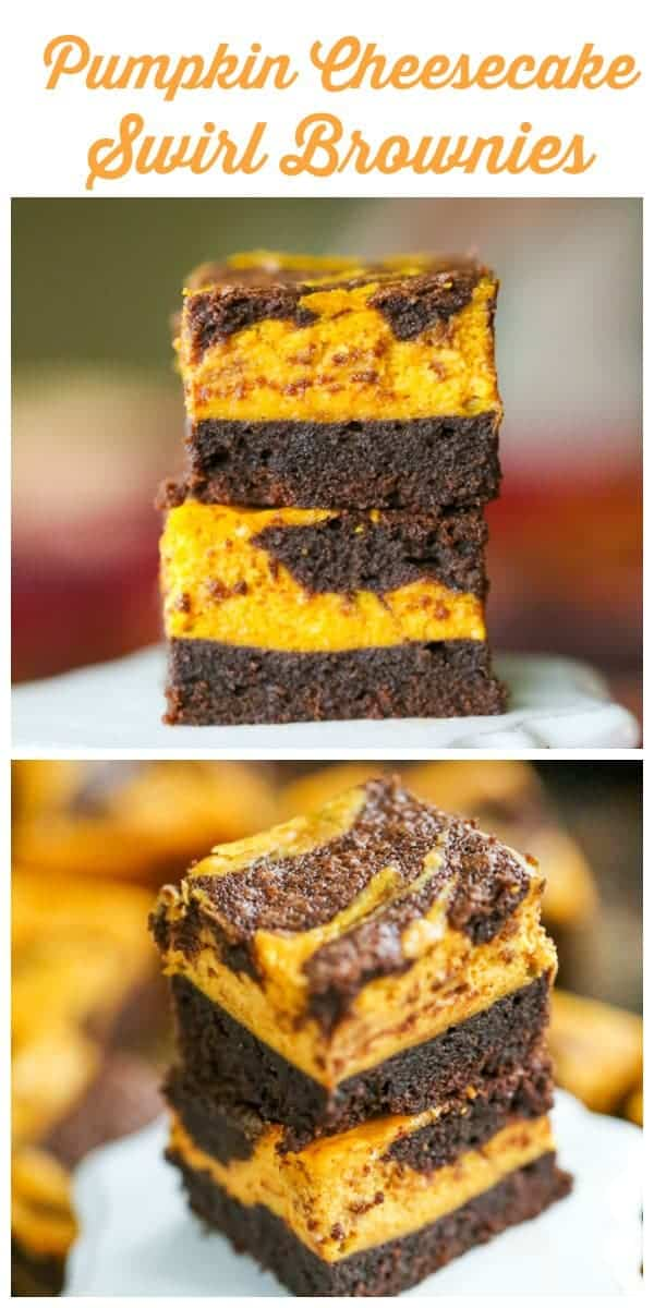 Pumpkin Cheesecake Swirl Brownies!  The combination of  luscious pumpkin cheesecake and rich chocolate brownies with notes of cinnamon spice together is completely mesmerizing and super tasty!  They practically melt in your mouth!  #pumpkin #cheesecake #pumpkincheesecake #cheesecakebrownies #fallbaking #halloween #thanksgiving #christmas