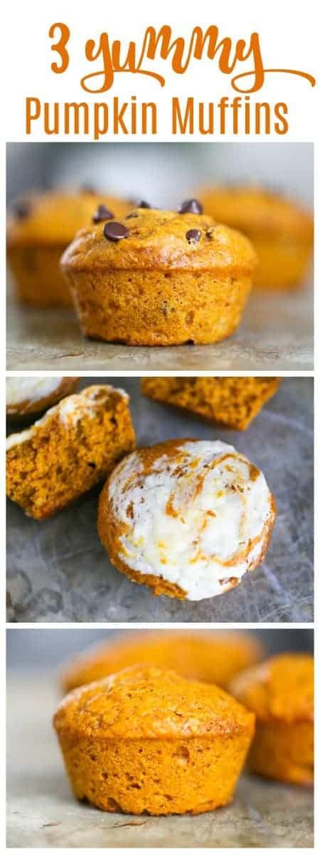 Yummy Pumpkin Muffins - Includes Cream Cheese Stuffed & Chocolate Chipoptions!  #muffins #pumpkin #pumpkinmuffins #creamcheese #chocolate chip #fallbaking #baking #snack #breakfast #thanksgiving