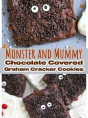 Monster and Mummy Chocolate Covered graham Cracker Cookies