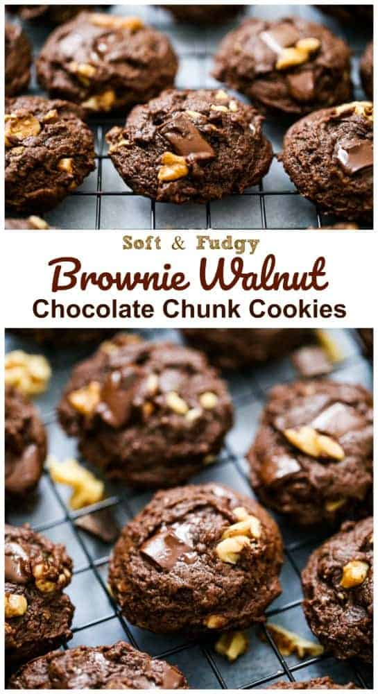 Brownie Walnut Chocolate Chunk Cookies - Vegan & GF Options too!