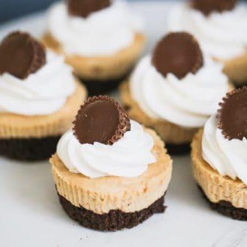 Keto Mini Chocolate Peanut Butter Cheesecakes