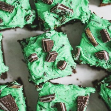 Triple Chocolate Mint Brownies with White Chocolate Buttercream Frosting