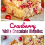 Holiday Cranberry White Chocolate Blondies