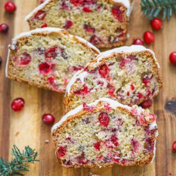 Cranberry Quick Bread with Orange Glaze
