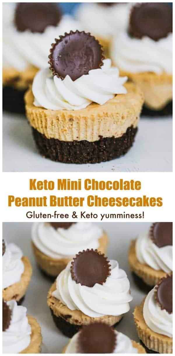 Keto Mini Chocolate Peanut Butter Cheesecakes - Keto Mini Chocolate Peanut Butter Cheesecakes are for those who revel in the tasty bites of peanut butter and chocolate together in luscious cheesecake in low-carb form.#glutenfree #cheesecake #ketocheesecake #ketodesserts #keto #peanutbutter #chocolate #peanutbutterandchocolate #lowcarbdessert #sugarfreedessert #peanutbuttercupcheesecake