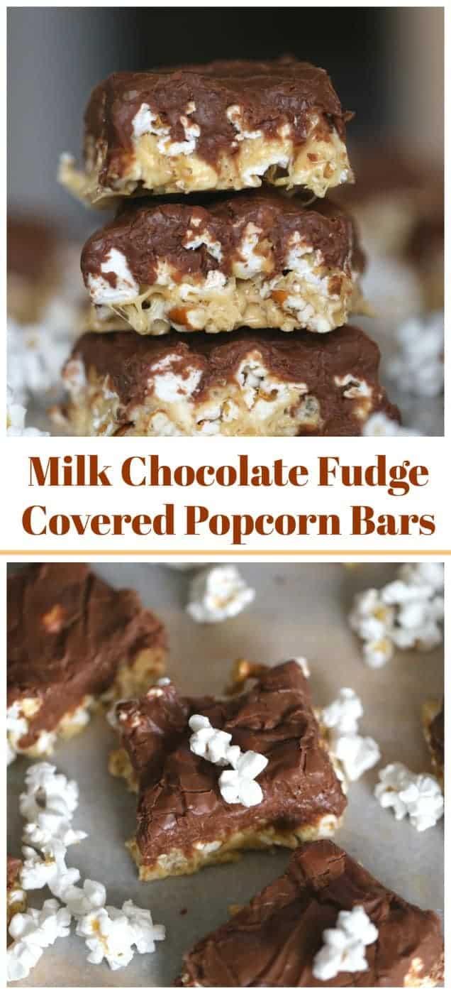Milk Chocolate Fudge Covered Popcorn Bars