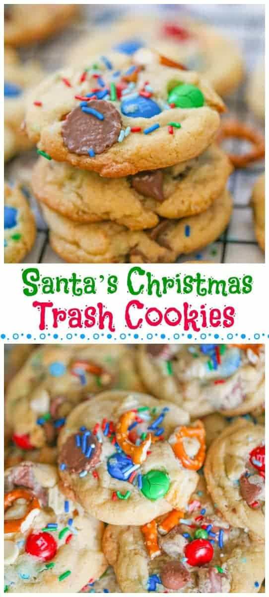 Santa's Christmas Trash Cookies - These cookies pretty much cover everything you could ever want in cookies and more, which is why they are called \'trash\' cookies. Imagine soft, chewy cookies smooshed with loads of mini white and chocolate reese cups, white and chocolate chips, pretzels, potato chips, sea salt and festive sprinkles!  Trash never tasted so good! #cookies #christmascookies #santacookies #trashcookies #chocolatechipcookies #holidaycookies #sprinkles #sweetandsalty #chocolate