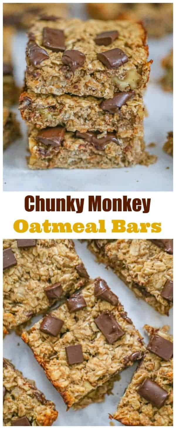 Looking for a healthy sweet snack you can feel good about?  These Healthy Chunky Monkey Oatmeal Bars are so simple and easy to make, you'll be amazed how good they taste for breakfast and snacking!  All you need to make these scrumptious Healthy Chunky Monkey Oatmeal Bars are oats, peanut butter, bananas, a little maple syrup, chocolate chunks & walnuts. Save the chocolate chunks for the top of the bars to make 'em look pretty.  #vegan #oatmealbars #oatmealrecipes #healthyrecipes #health...