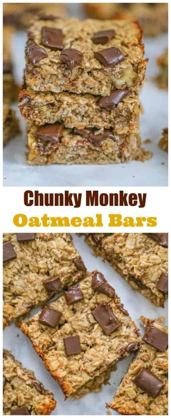 Healthy Chunky Monkey Oatmeal Bars - Easy