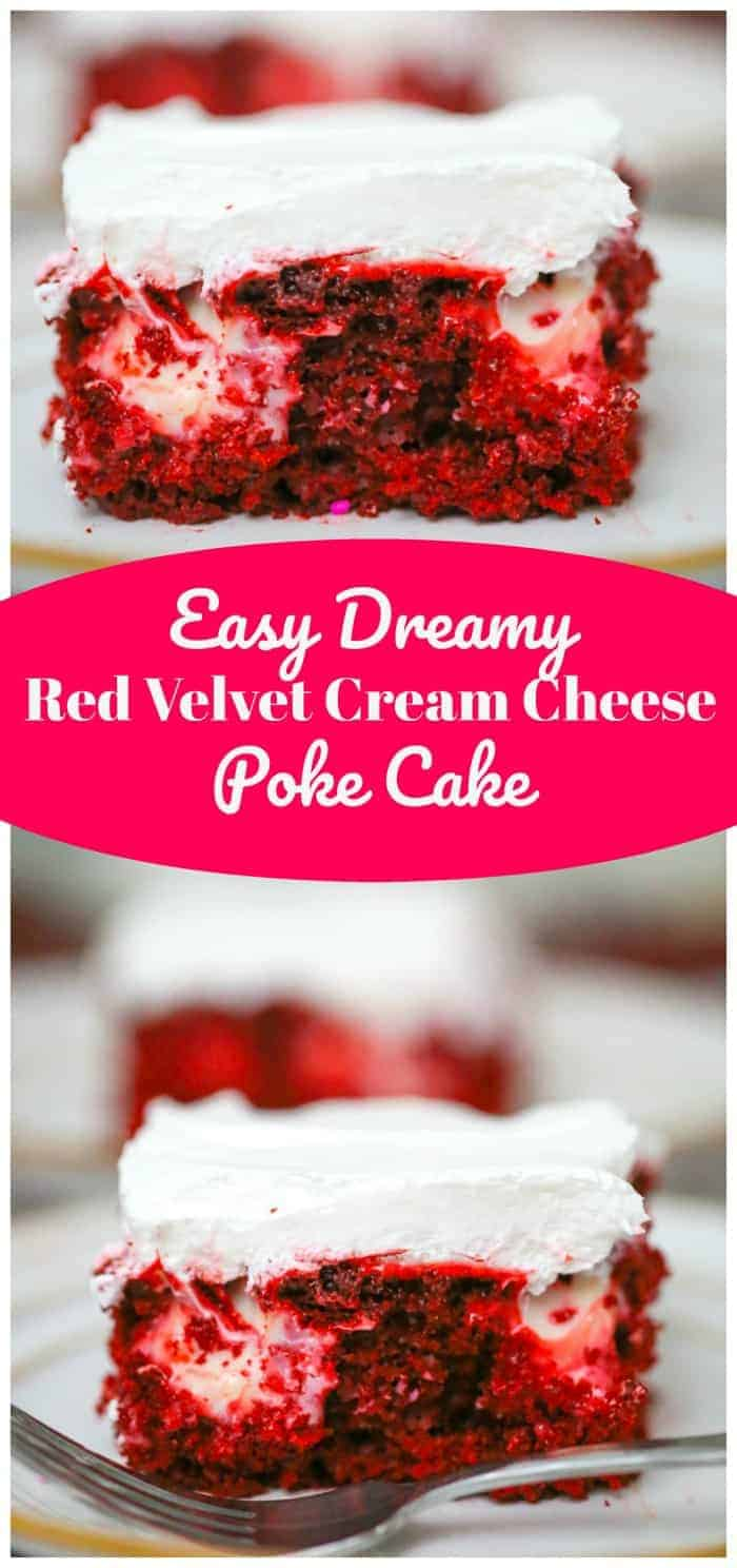 Easy Dreamy Red Velvet Cream Cheese Poke Cake
