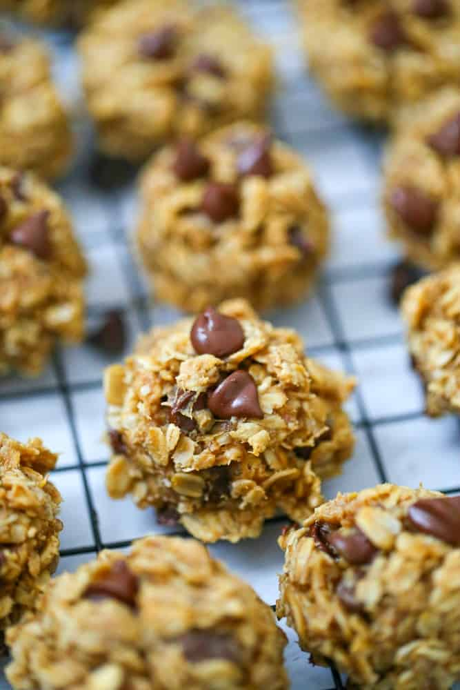 Peanut Butter Banana Oat Chocolate Chip Cookies