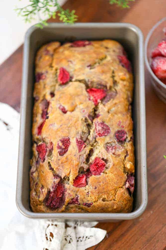 Banana Strawberry Walnut Bread