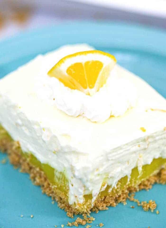Lemon Layered Pudding Cheesecake Bars
