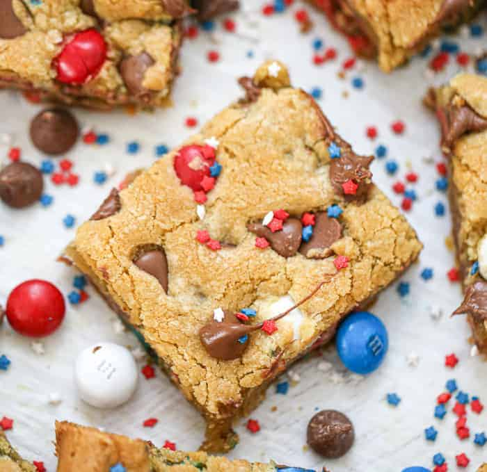 Patriotic M&M Party Cookie Bars