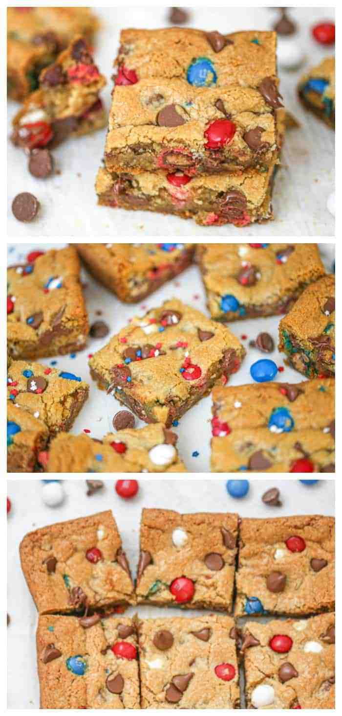Patriotic M&M Party Cookie Bars