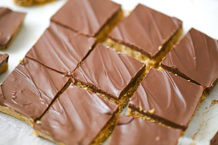 slices of No-Bake Healthy Chocolate Peanut Butter Oatmeal Bars