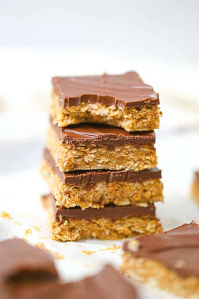 stack of No-Bake Healthy Chocolate Peanut Butter Oatmeal Bars