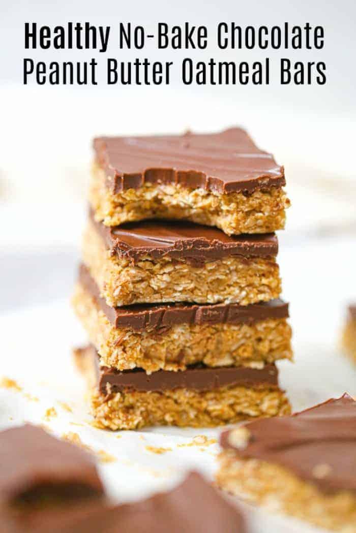 Healthy No-Bake Chocolate Peanut Butter Oatmeal Bars