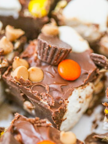 Heavenly Chocolate Peanut Butter Marshmallow Squares