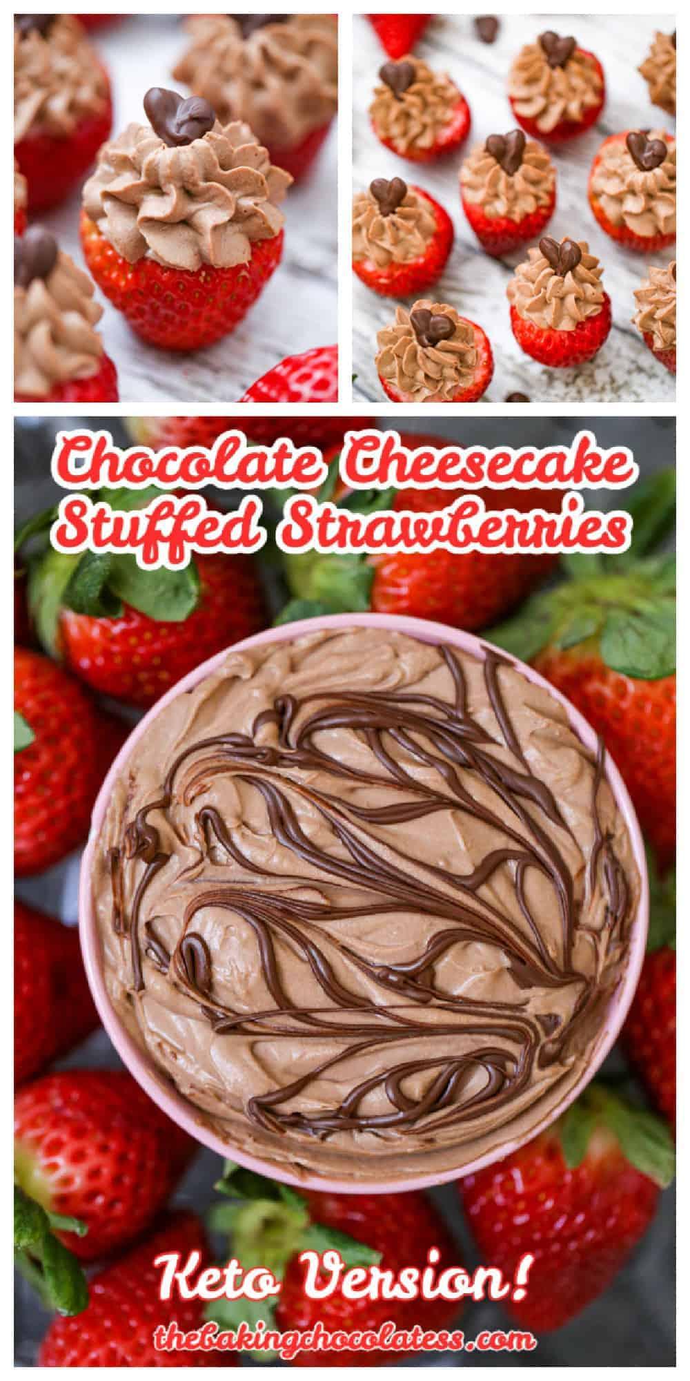 OMG Chocolate Cheesecake Stuffed Strawberries - Keto Option Too!