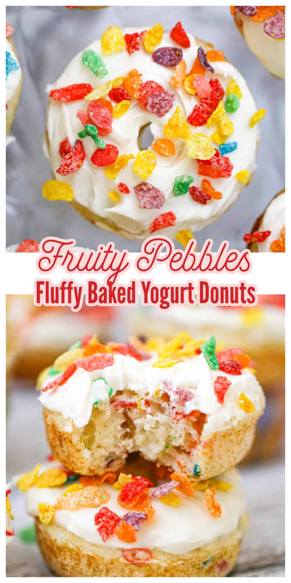 Fruity Pebbles Fluffy Baked Donuts