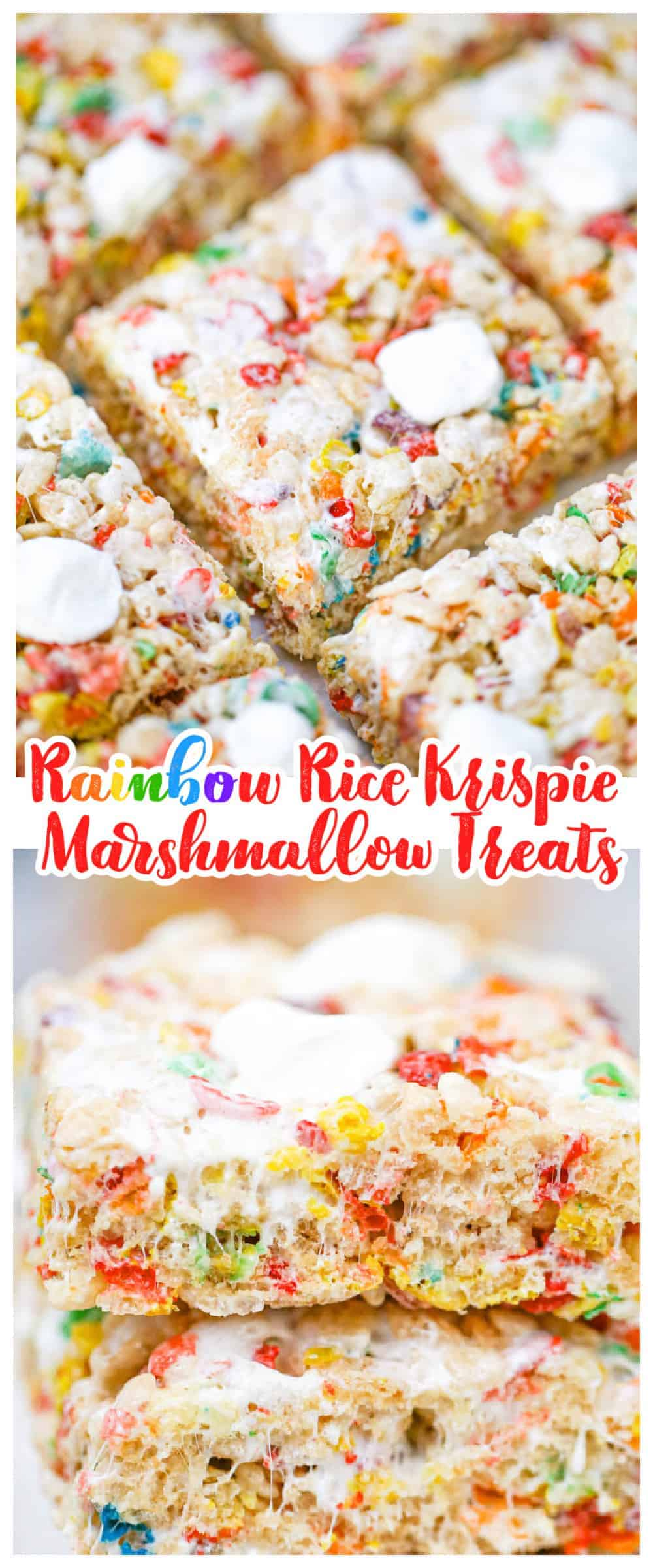 Rainbow Rice Krispie Marshmallow Treats