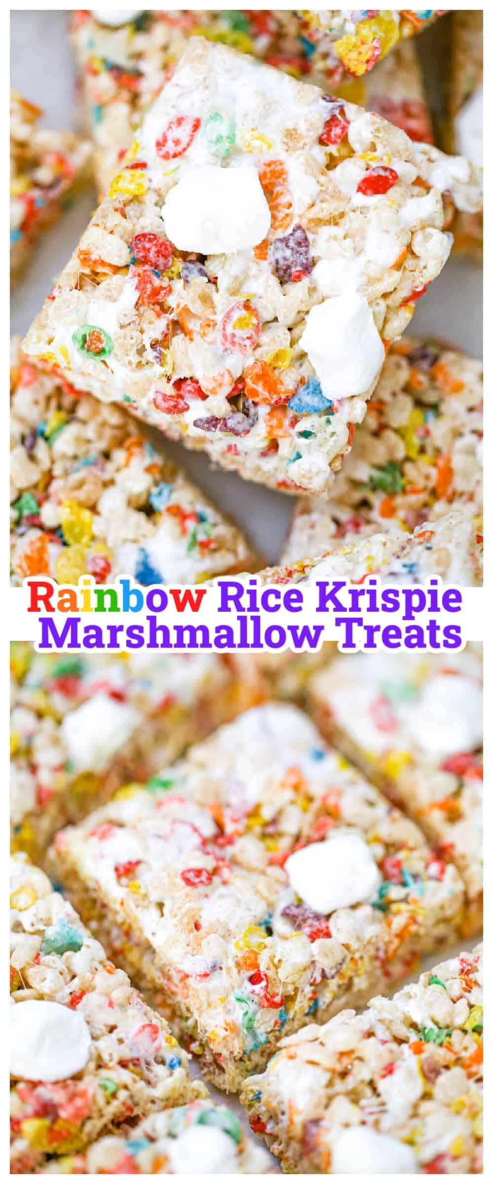 Rainbow Rice Krispie Marshmallow Treats