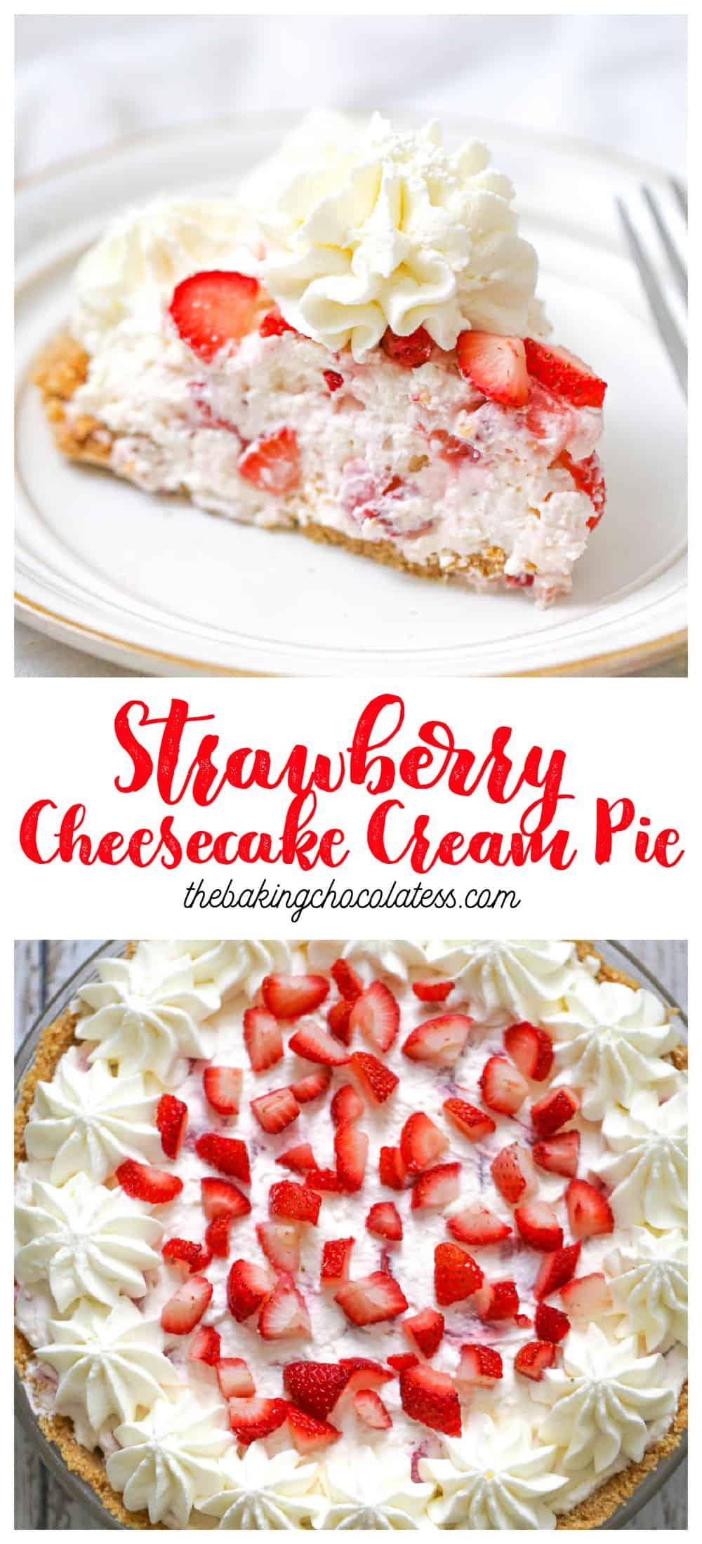 No Bake Strawberry Cheesecake Cream Pie