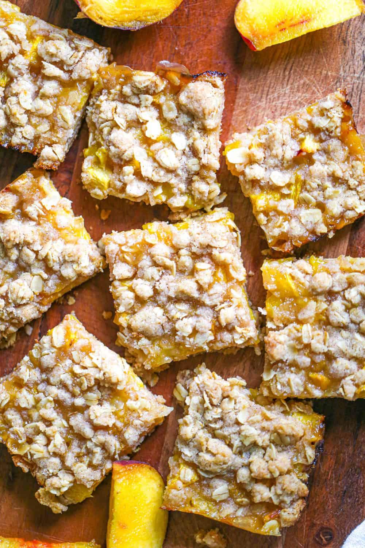 Oatmeal Peach Crumble Bars