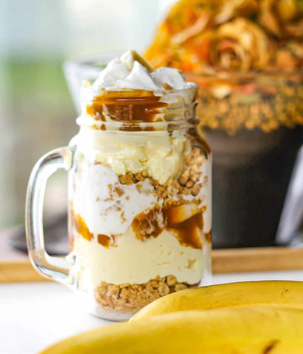 Layered Caramel & Banana Cream Pie Parfaits