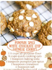 Pumpkin Spice Chocolate Chip Oatmeal Cookies